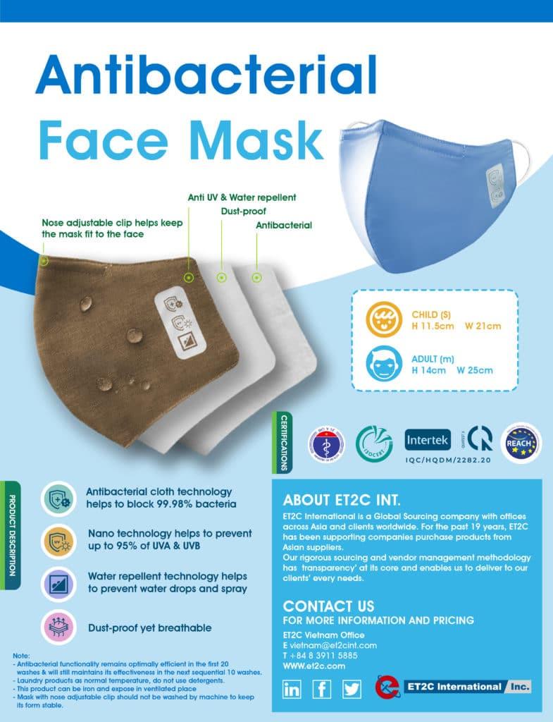 face Mask antibacterial cloth cotton Vietnam