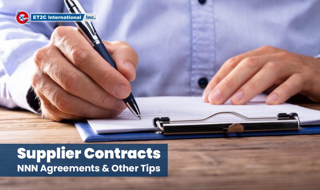 Supplier Contracts sourcing ET2C Int. Procurement